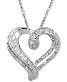 Diamond Heart Adjustable Pendant Necklace (1/2 ct. t.w.) in Sterling Silver