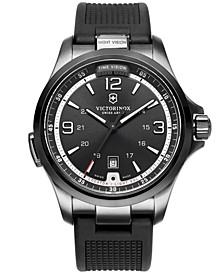 Watch, Men's Night Vision Black Rubber Strap 42mm 241596