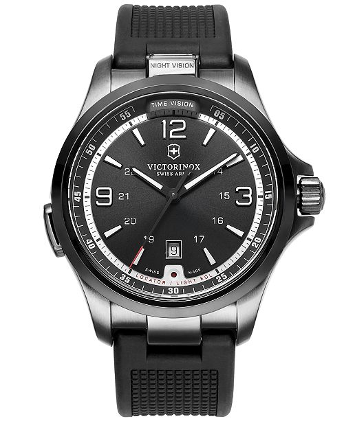 Victorinox Swiss Army Watch, Men's Night Vision Black Rubber Strap 42mm 241596