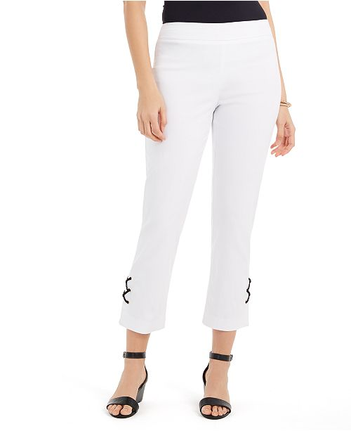JM Collection Lace-Up Tummy-Control Ankle Pants, Created for Macy's