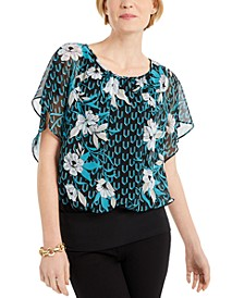Flutter-Sleeve Banded-Hem Top, Created for Macy's