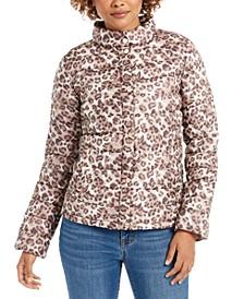 Leopard-Print Packable Puffer Coat