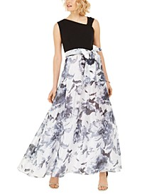 Asymmetrical-Neck Floral-Skirted Gown
