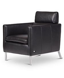 """Darrium 27"""" Leather Club Chair, Created for Macy's"""