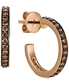 Chocolatier® Chocolate Diamond Small Hoop Earrings (1-1/20 ct. t.w.) in 14k Rose Gold, 0.79""