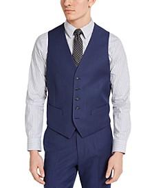 Men's Portfolio Slim-Fit Stretch Blue Pindot Suit Vest