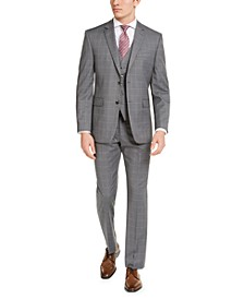 Men's Portfolio Slim-Fit Stretch Gray Windowpane 3-Piece Suit Separates