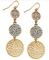 INC International Concepts Gold-Tone Triple Pave Disc Linear Drop Earrings