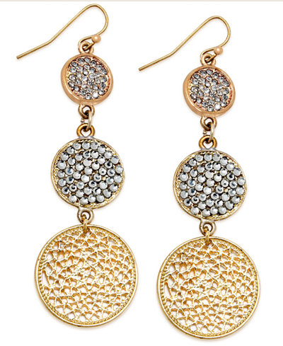 I.N.C. Gold-Tone Triple Pave Disc Linear Drop Earrings