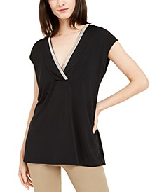 Embellished V-Neck Top, Created for Macy's