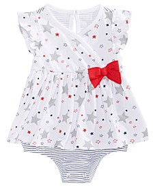Baby Girls Star-Print Striped Cotton Sunsuit, Created for Macy's