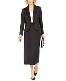 Notched-Lapel Column Skirt Suit