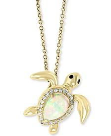"EFFY® Opal (1-1/10 ct. t.w.) & Diamond (1/10 ct. t.w.) Sea Turtle 18"" Pendant Necklace in 14k Gold"