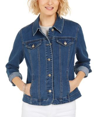 Eyelet-Trimmed Denim Jacket, Created for Macy's