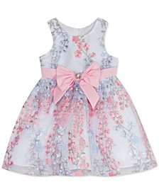 Baby Girls Embroidered-Mesh Bow Dress