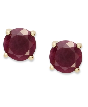 18k Gold over Sterling Sterling Earrings, July's Birthstone Ruby Stud Earrings (2 ct. t.w.)