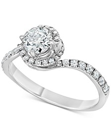 Diamond Swirl Engagement Ring (1 ct. t.w.) in 14k White Gold