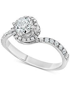Diamond Swirl Engagement Ring (1 ct. t.w.) in 14k White Gold