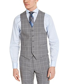Men's Classic-Fit Airsoft Stretch Gray Plaid Suit Vest