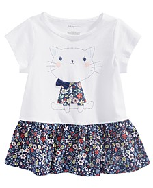 Baby Girls Cat-Print Cotton Peplum Tunic, Created For Macy's