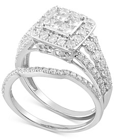 Diamond Princess Halo Bridal Set (1-1/2 ct. t.w.) in 14k White Gold