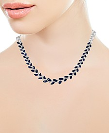 "EFFY® Sapphire (7-7/8 ct. t.w.) & Diamond (3/4 ct. t.w.) 16"" Statement Necklace in 14k White Gold"