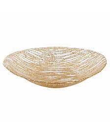 "Secret Treasure Gold Mouth Blown Glass 8"" X 5"" Oval Bowl"