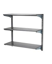 Storability Wall Mount Shelving Unit with 3 Epoxy Coated Steel Shelves Mounting Hardware
