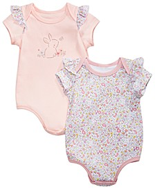 Baby Girls 2-Pk. Cotton Bunny & Floral-Print Bodysuits, Created for Macy's