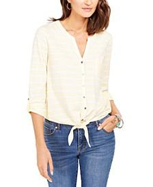 Petite Cotton Striped Tie-Hem Shirt, Created for Macy's
