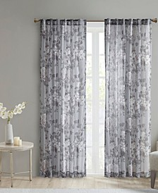 "Simone 50"" x 84"" Printed Floral Sheer Curtain Panel"