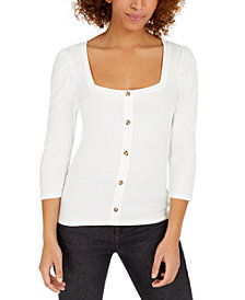 Crave Fame Juniors' Puff-Sleeved Rib-Knit Top