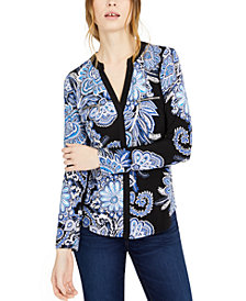 INC Paisley Printed Zip-Detail Top, Created for Macy's