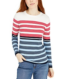 Crewneck Cotton Multi-Stripe Top