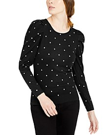 INC Embellished Puff-Sleeve Sweater, Created for Macy's