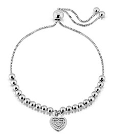 Brilliant Bubbles Diamond  (1/10 ct. t.w.) Heart Charm Bolo Bracelet Designed in Sterling Silver or 14k Yellow Gold over Sterling Silver