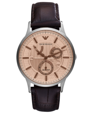 Emporio Armani Watch, Men's Automatic Meccanico Brown Croco Leather Strap 43mm AR4660