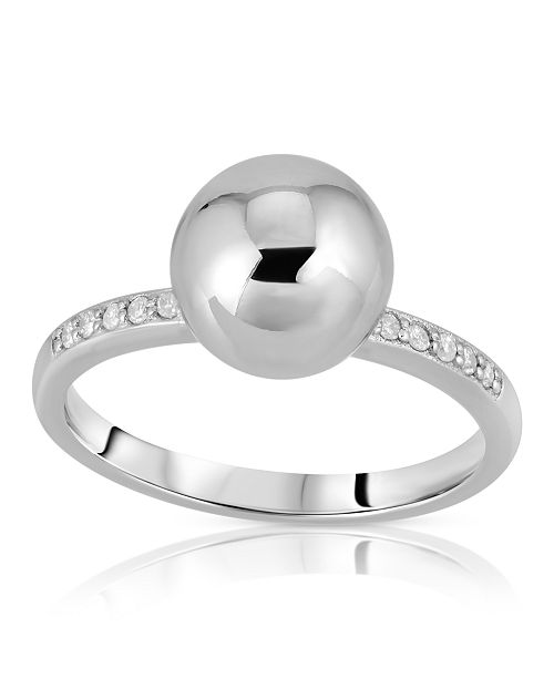 Macy's Brilliant Bubbles Diamond 1/10 ct. t.w. Side Line Ring Designed in 14k Rose Gold over Sterling Silver