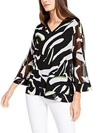 Printed Sheer-Sleeve Top, Created for Macy's