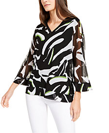 Alfani Printed Sheer-Sleeve Top, Created for Macy's
