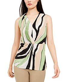 Petite Printed Twist-Front Sleeveless Top, Created For Macy's