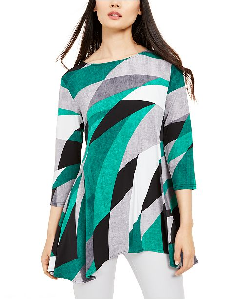 Alfani Printed High Low Tunic, Created for Macy's