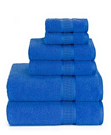 Sapphire Resort Gifford Textured Zero Twist Ribbed Border 6 Piece Bath Towel Set