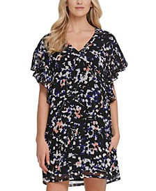 Printed Ruffle-Sleeve Dress