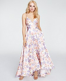 Juniors' Floral Lace-Trim Gown