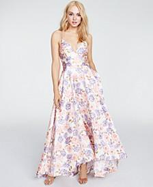 Juniors' Floral Lace-Trim Gown
