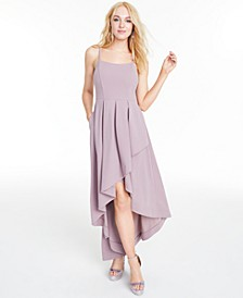 Juniors' Pleated High-Low Gown