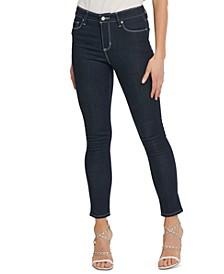 Contrast-Stitch Skinny Jeans