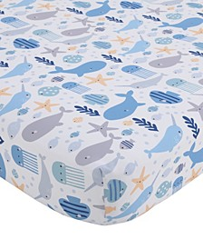 Underwater Adventure Narwhals and Whales Crib Sheet