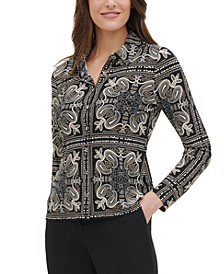 Printed Button-Up Blouse
